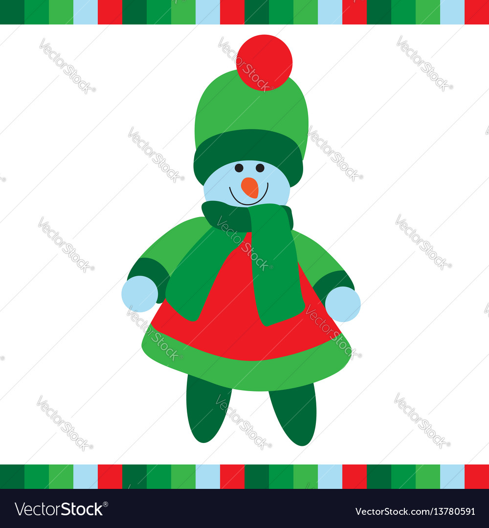 Cute snowgirl on white background vector image