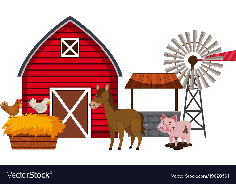 Farm Animals And Red Barn Vector Image
