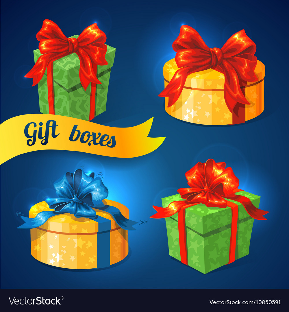 Gift box set with bows and ribbons