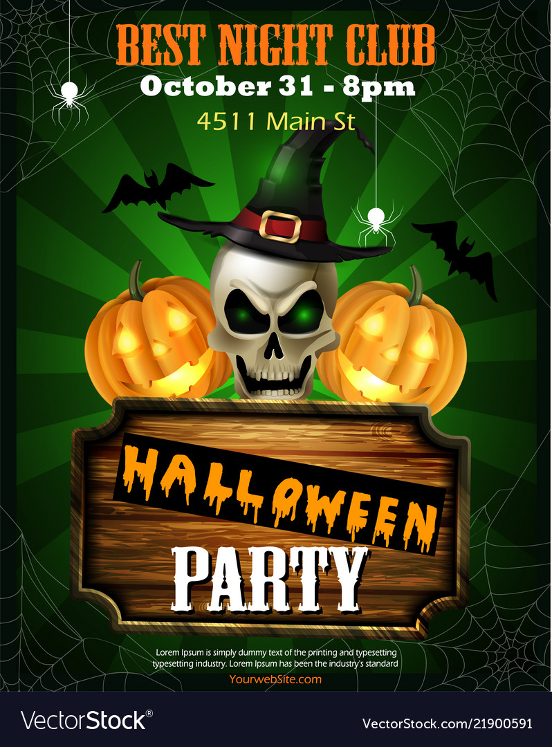 halloween party flyer with pumpkins royalty free vector