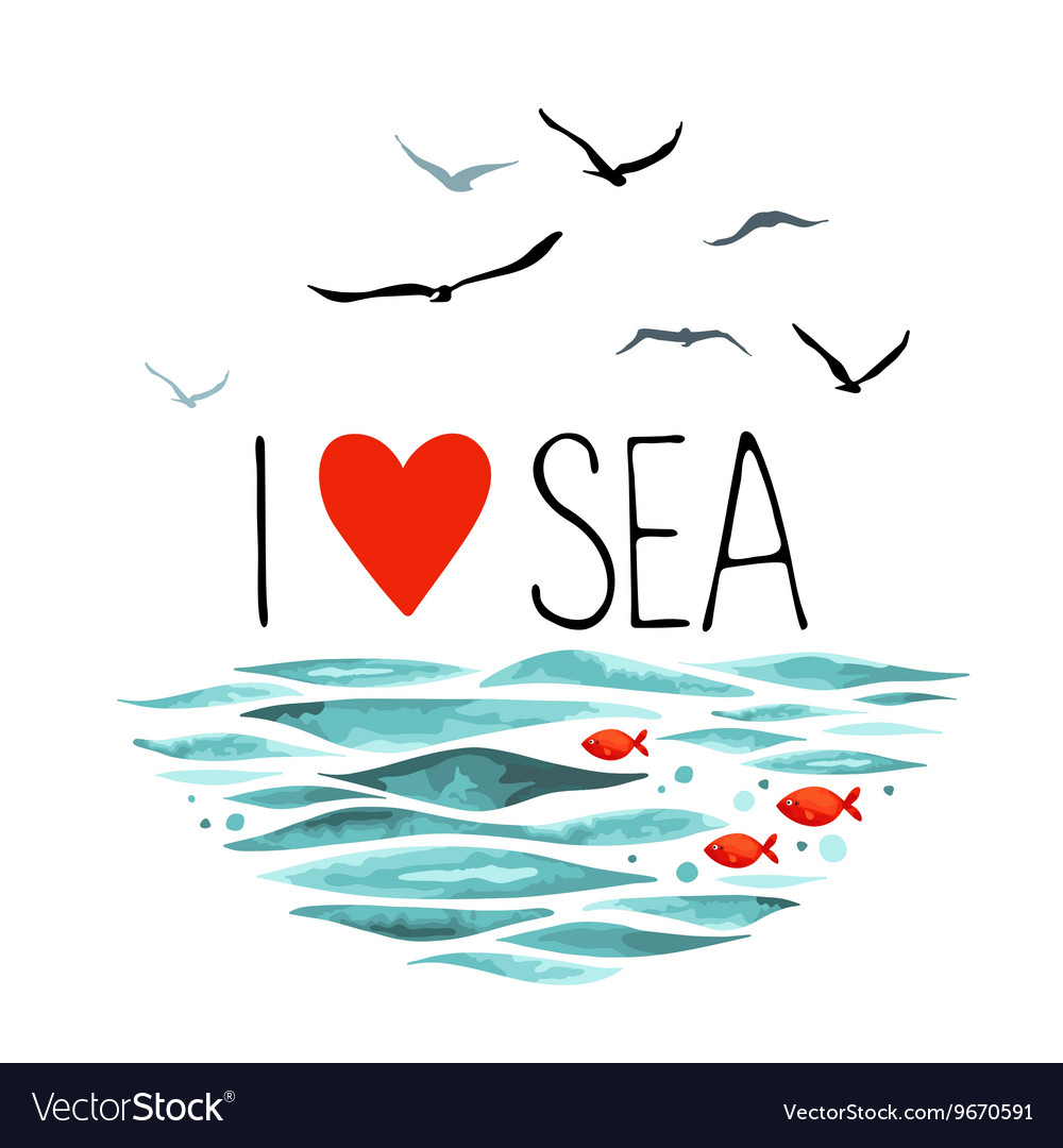 I Love Sea with seagulls waves and red fish