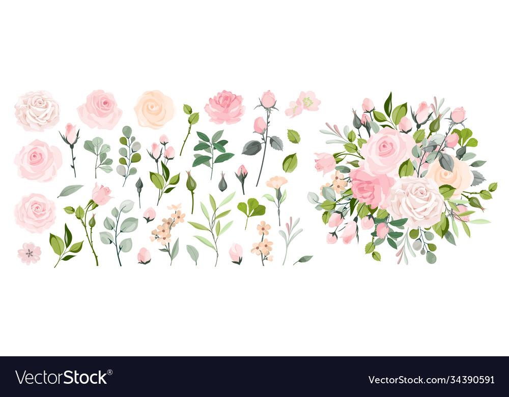 Set floral branch flower pink rose green