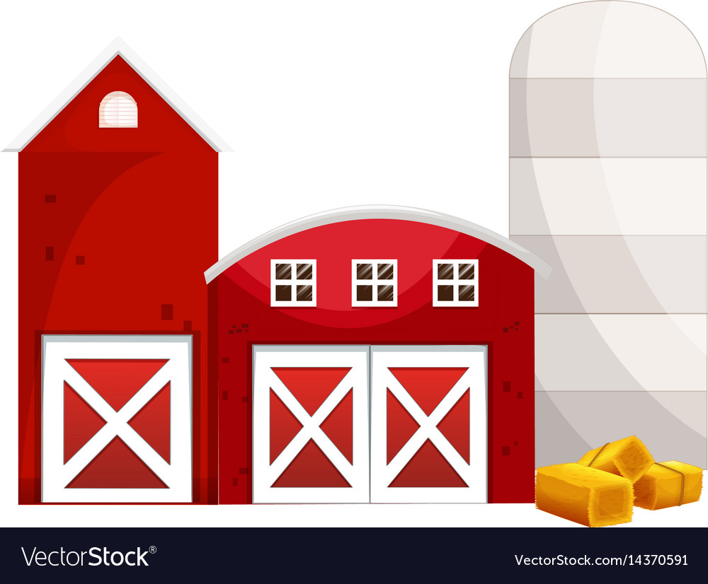 Silo and two red buildings