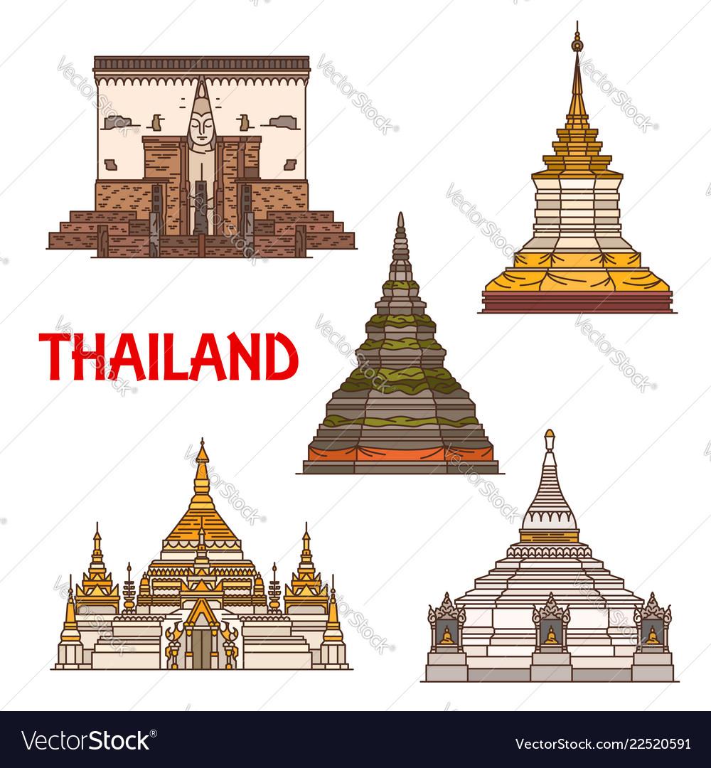 Thai travel landmark icons buddhist temple