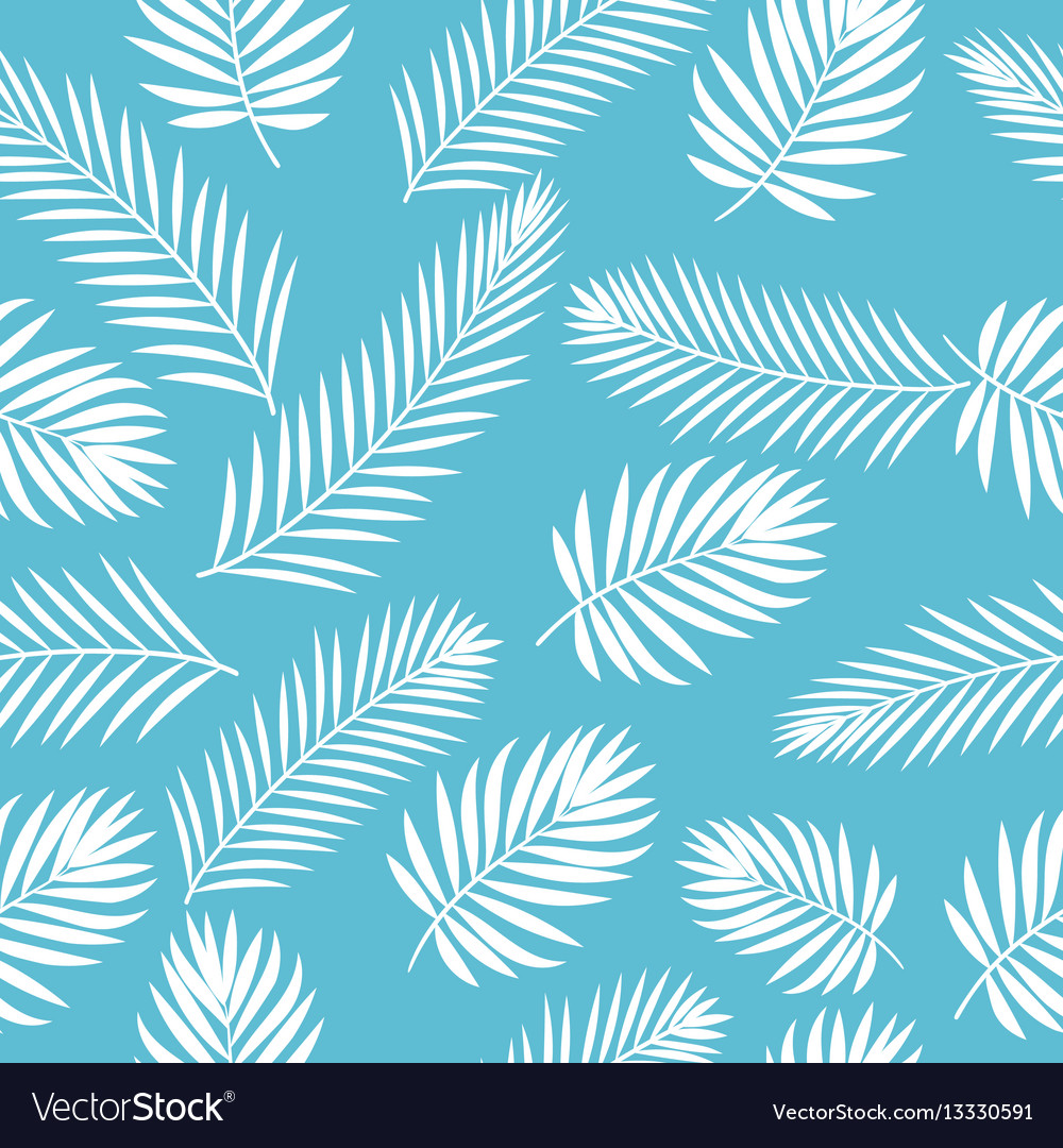 Tropical white palm tree leaves seamless pattern