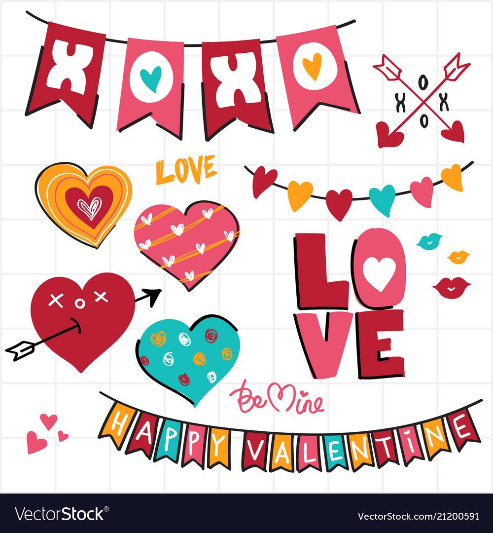 Valentine doodle and decoration banner set