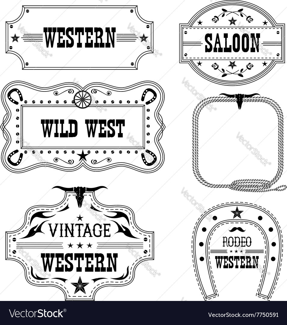 Western vintage labels isolated on white for vector image