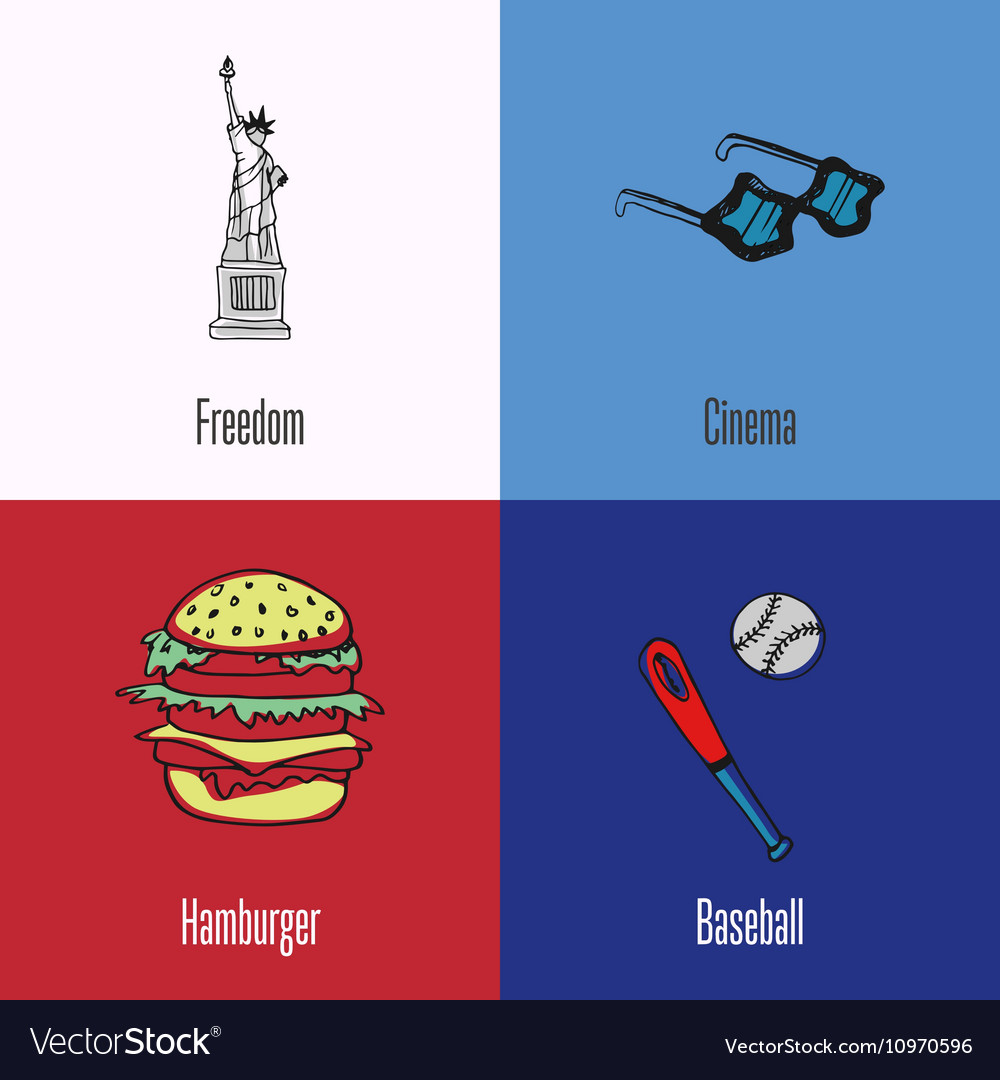 American National Symbols Icons Set