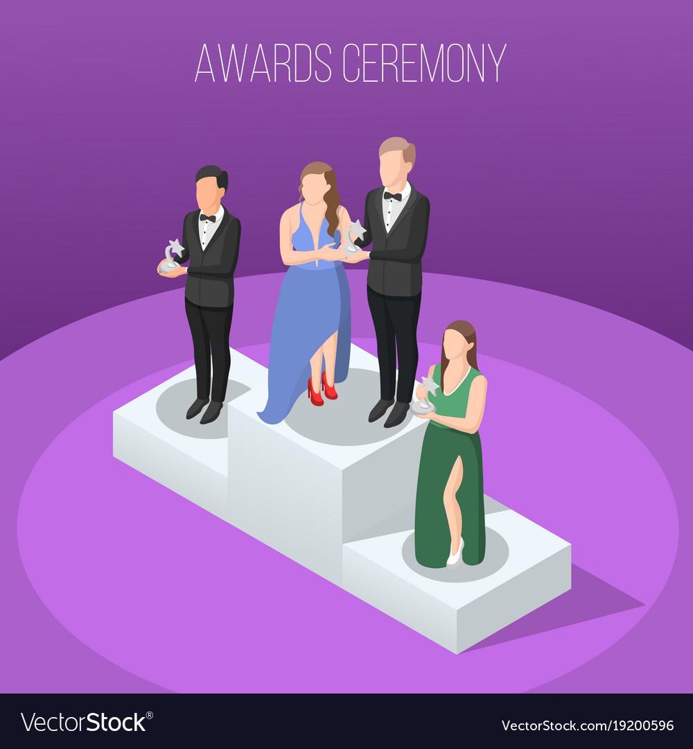 Awards ceremony isometric composition