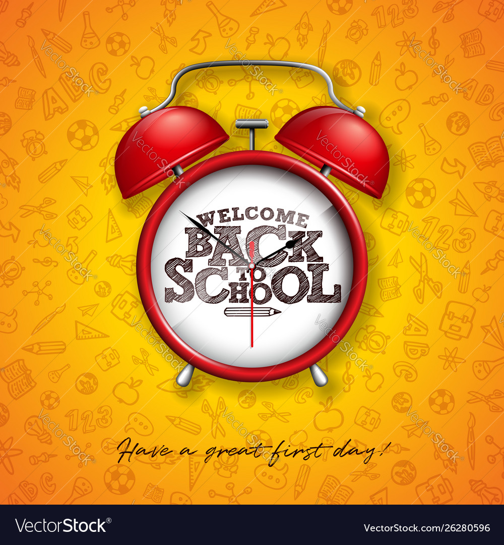 Back to school design with red alarm clock and
