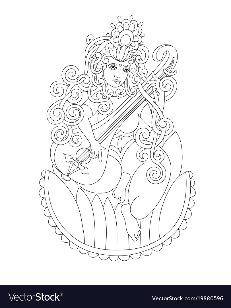 Black and white drawing of indian hindu goddess
