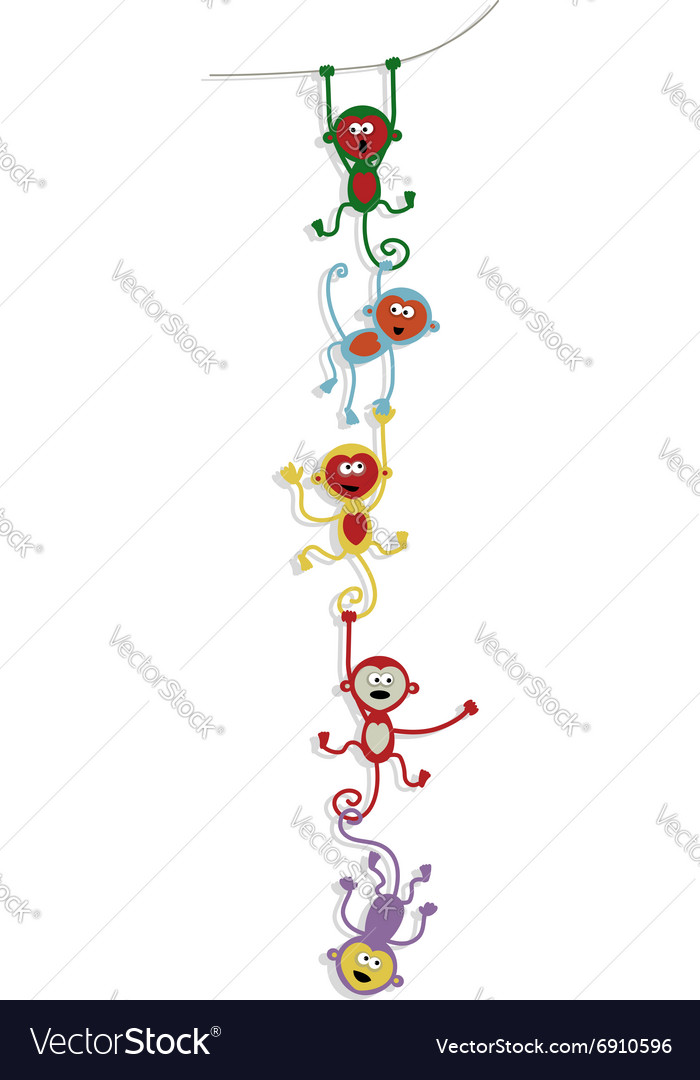Card design with funny colorful monkeys