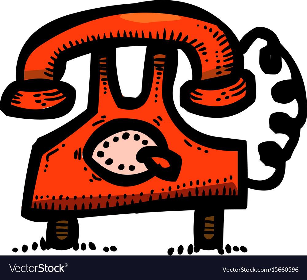 Cartoon image of phone icons set telephone