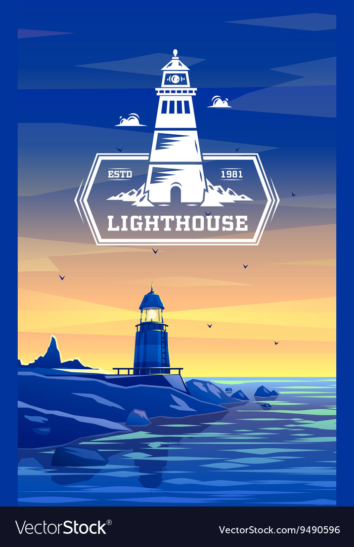 Colorful lighthouse symbol for any navigation