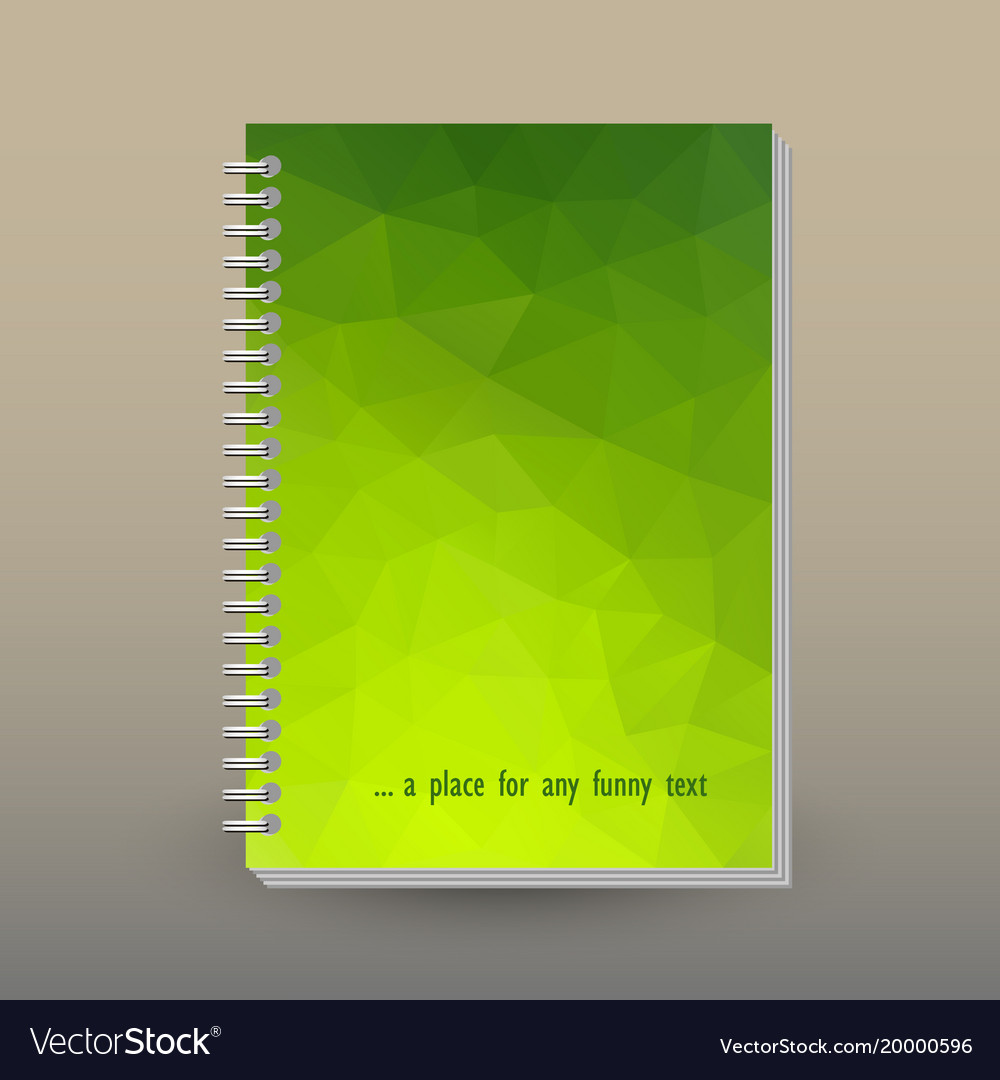 Cover of diary notebook green triangular pattern vector image