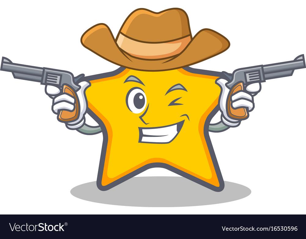 Cowboy star character cartoon style