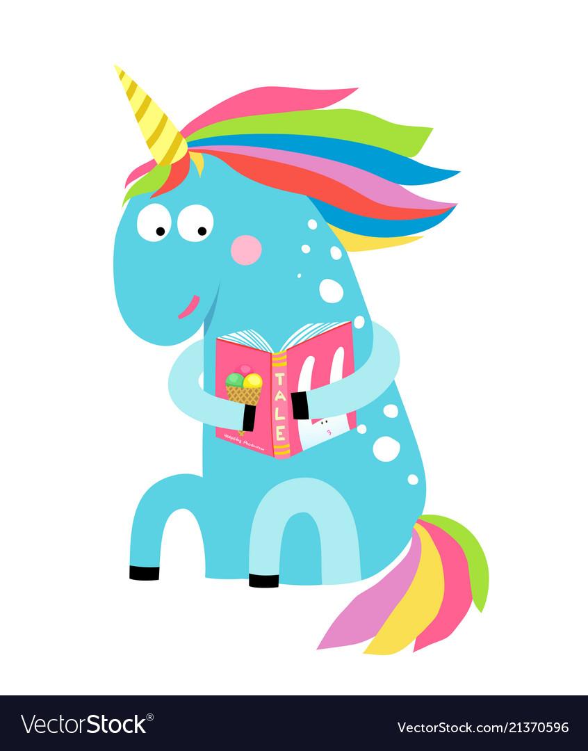 Cute unicorn reading a book