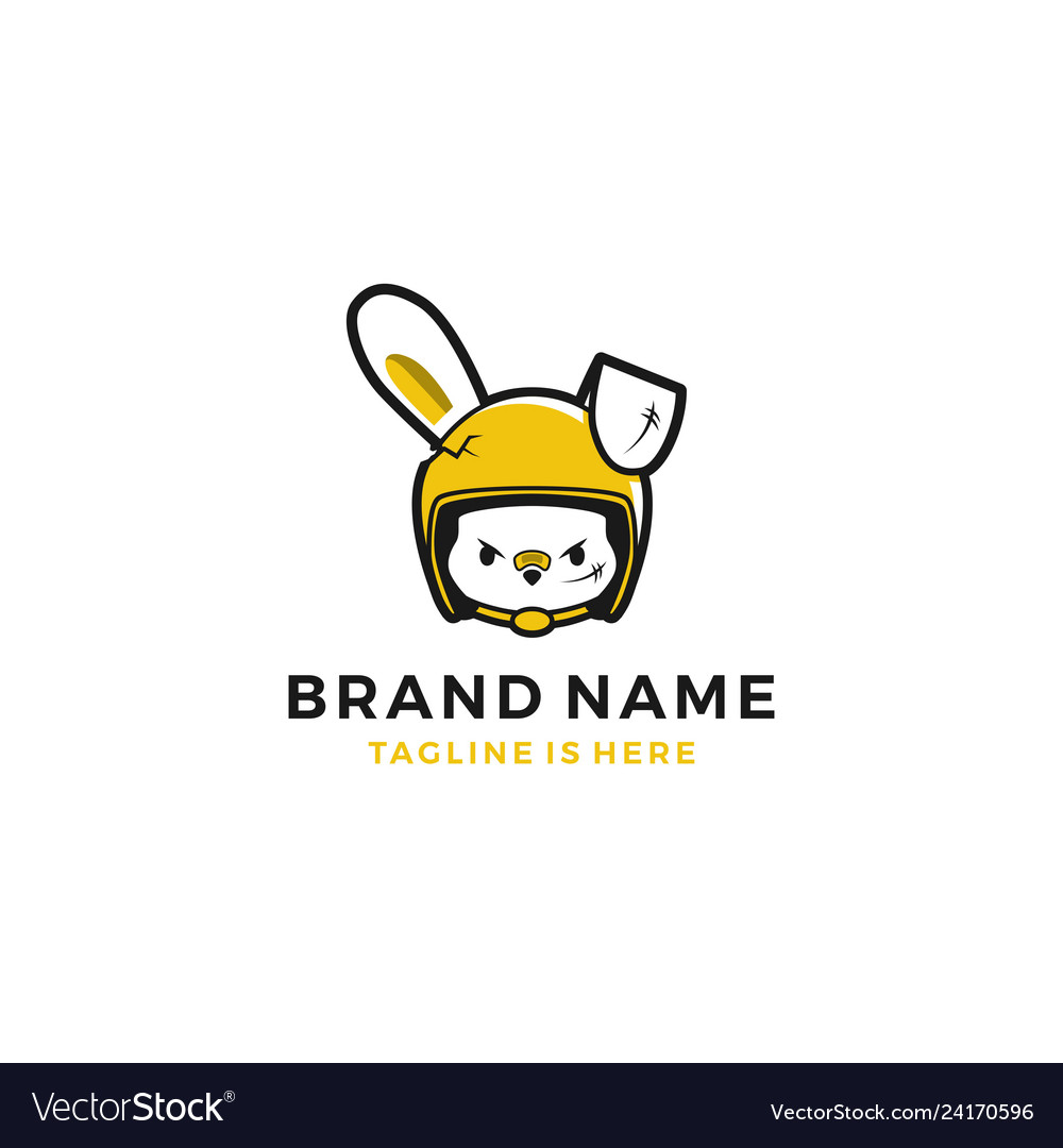 Girl rabbit hare with rider helmet logo template