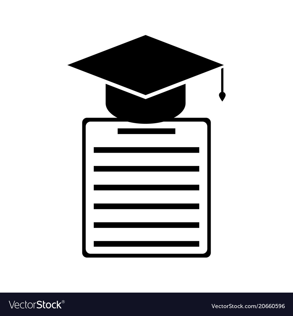 Graduation cap and diploma black icon vector image