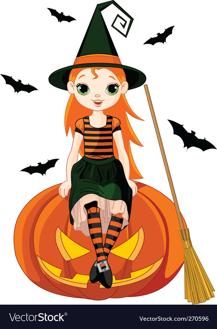 Little halloween witch on pumpkin Royalty Free Vector Image