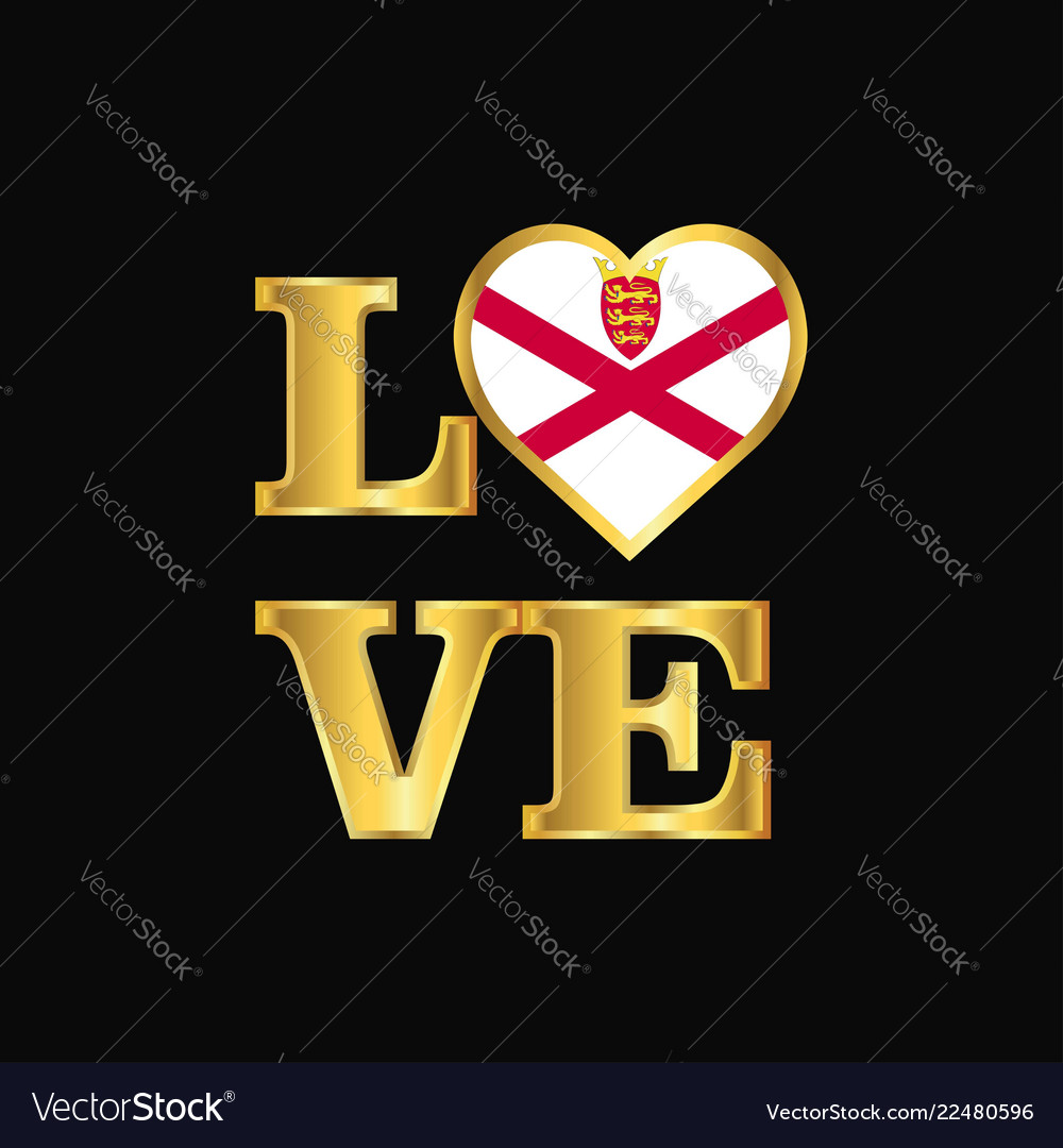 Love Typography Jersey Flag Design Gold Lettering Vector Image