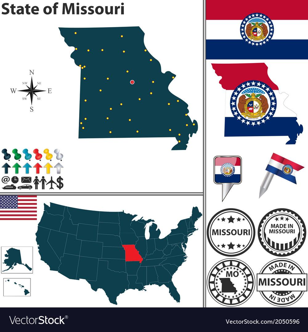 Map of Missouri vector image