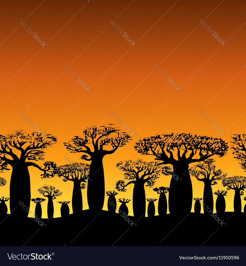 Seamless decorative border of baobabs silhouette
