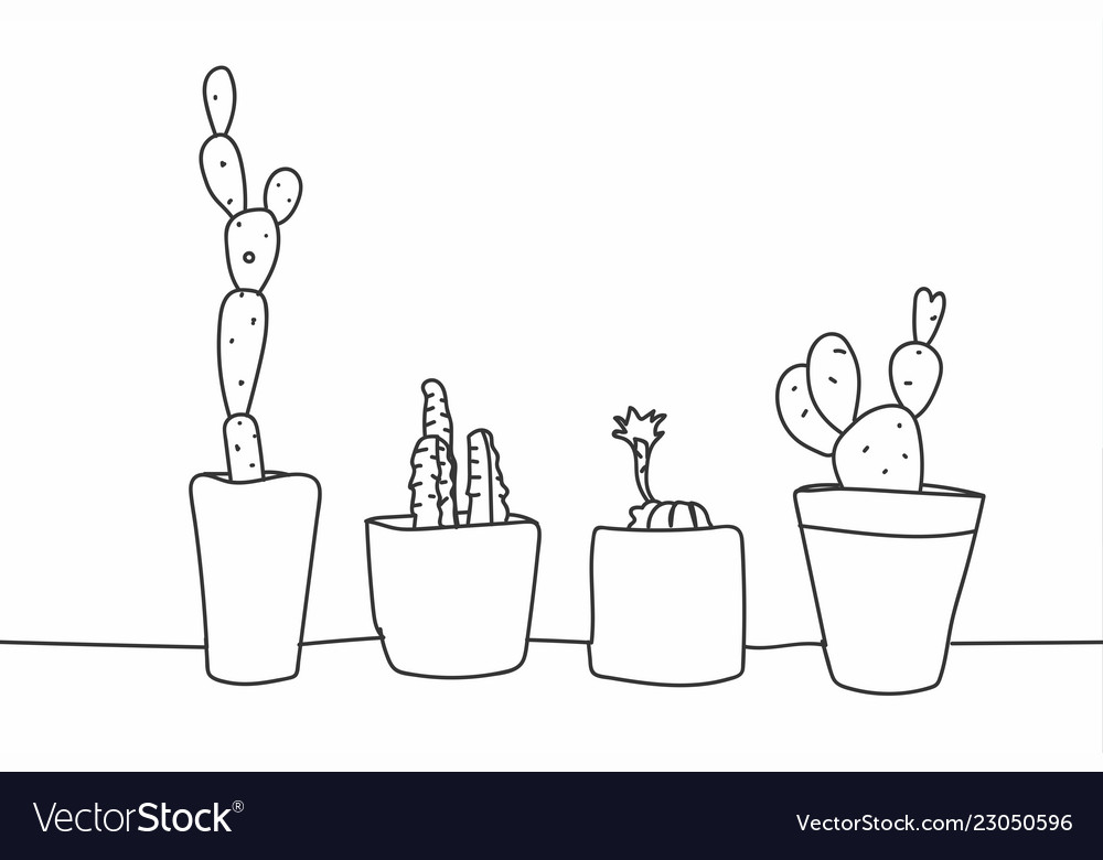 Simple hand drawn cactus and succulents in pots