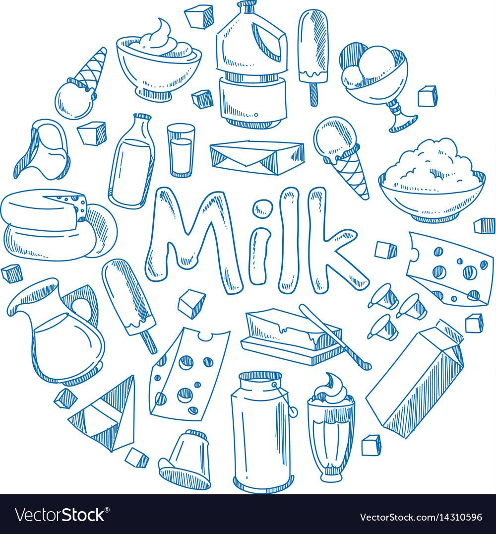 Sketch milk products farm breakfast vector image