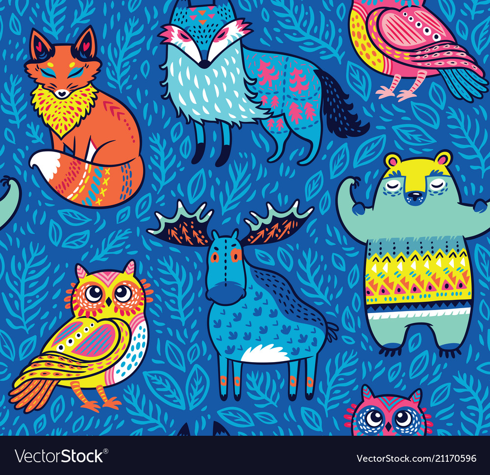 Tribal forest animals in blue