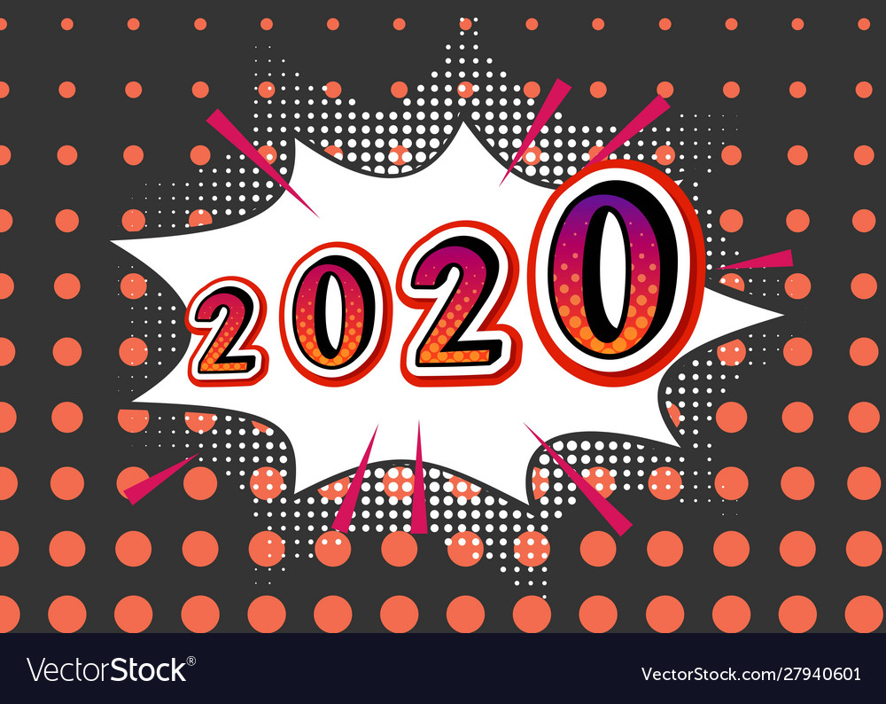 2020 new year with light bulbs retro background