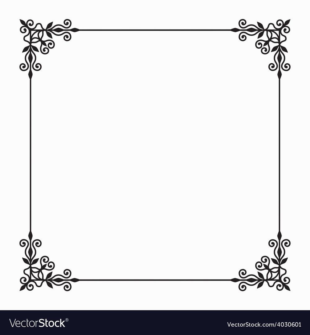 Black Twirl Frame on White Background