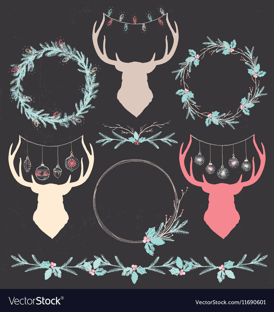 Christmas Deer and Wreath Chalk Drawing Set