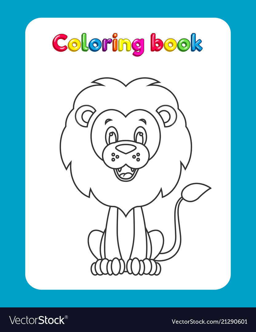 Coloring book page for children with cartoon lio