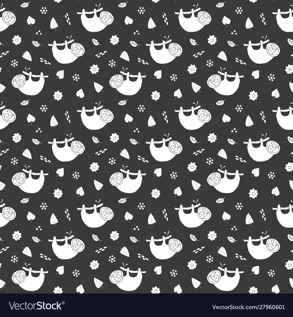 Cute sloth seamless pattern cartoon hand drawn