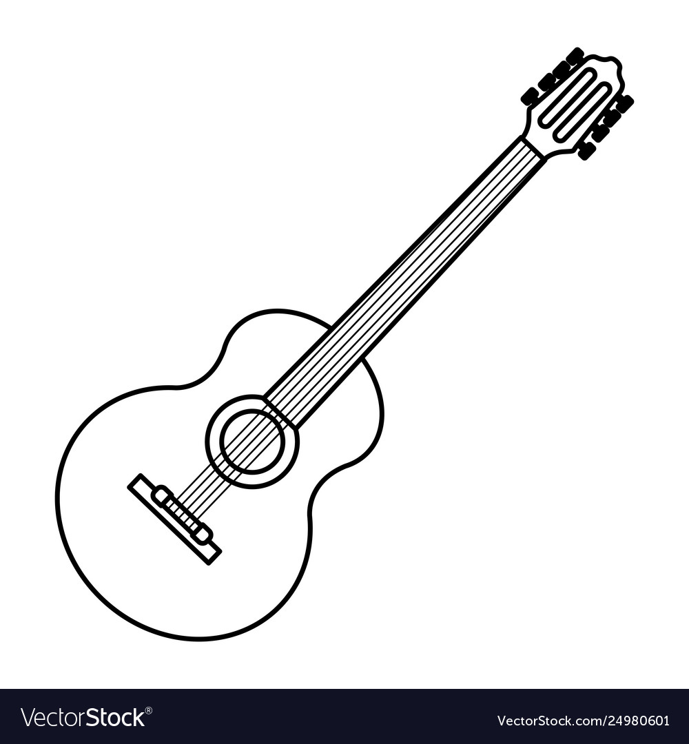Guitar Icon Cartoon Black And White Royalty Free Vector