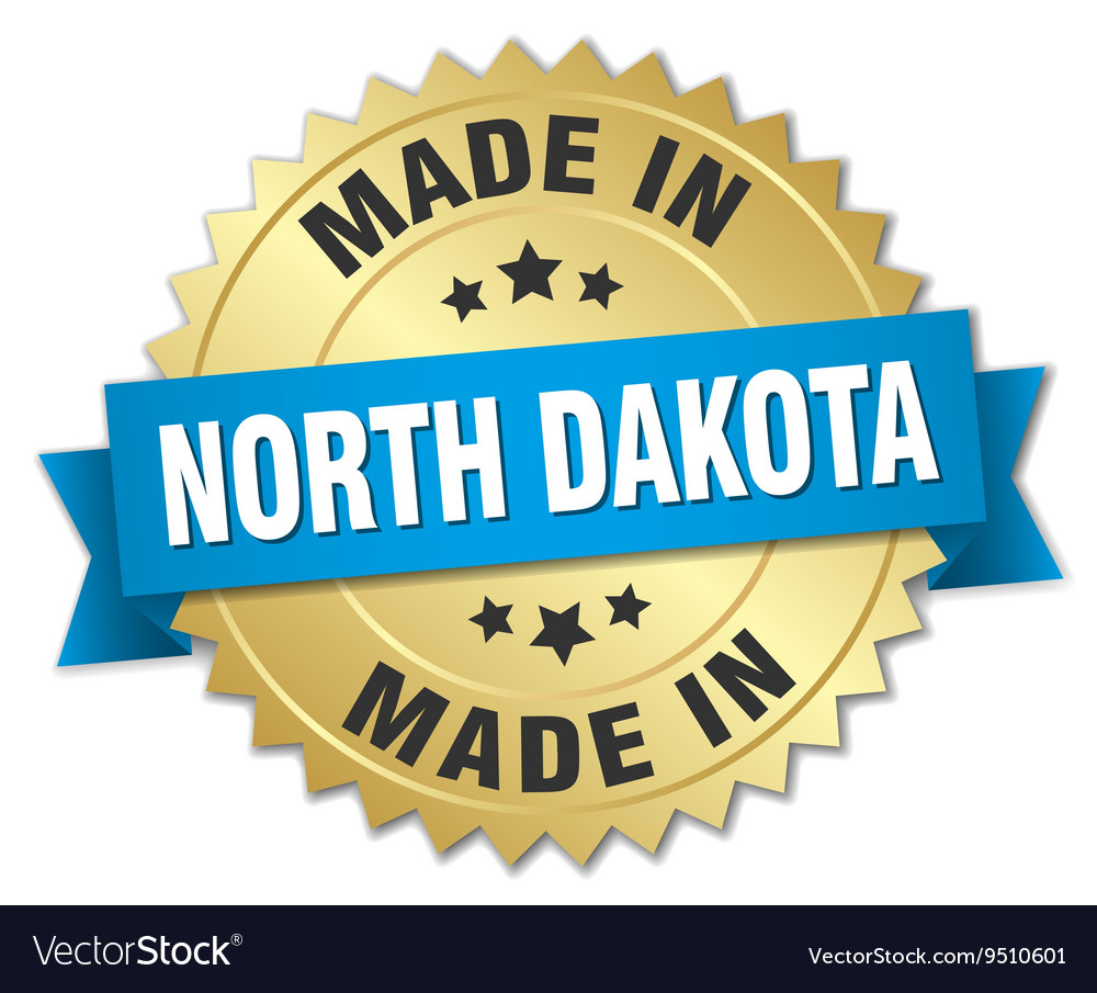 Made in North Dakota gold badge with blue ribbon vector image