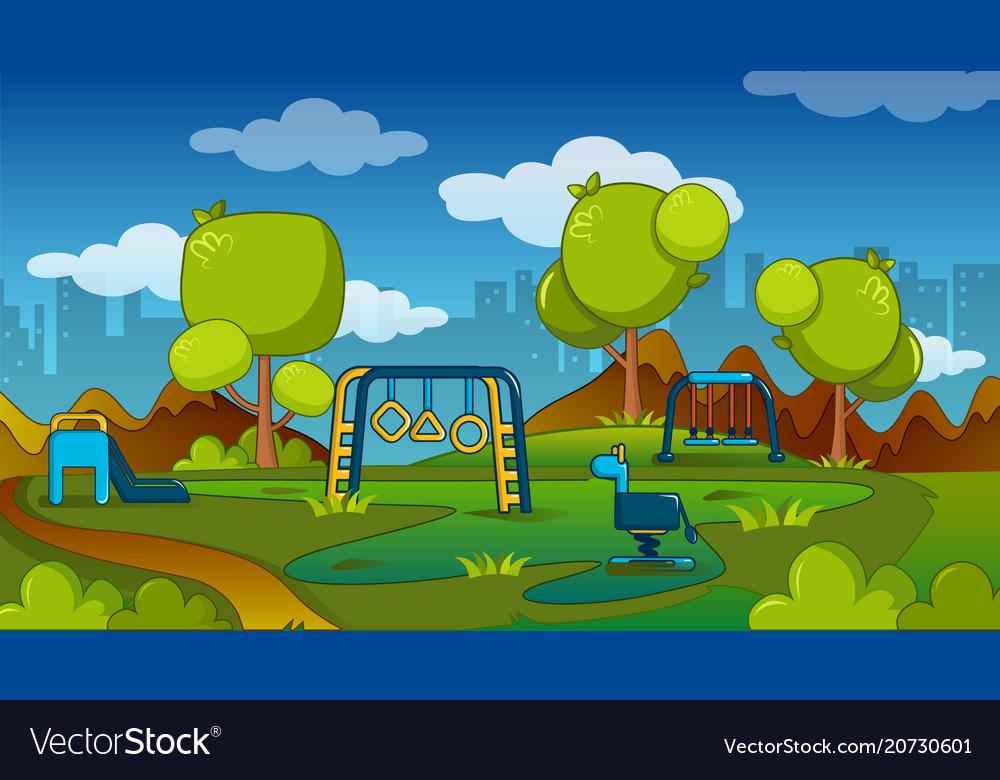 Playground concept cartoon style