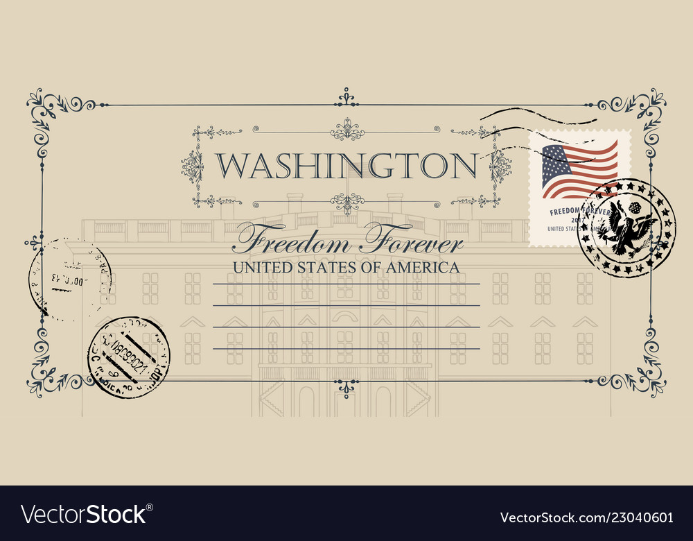 Postcard with us white house in washington dc