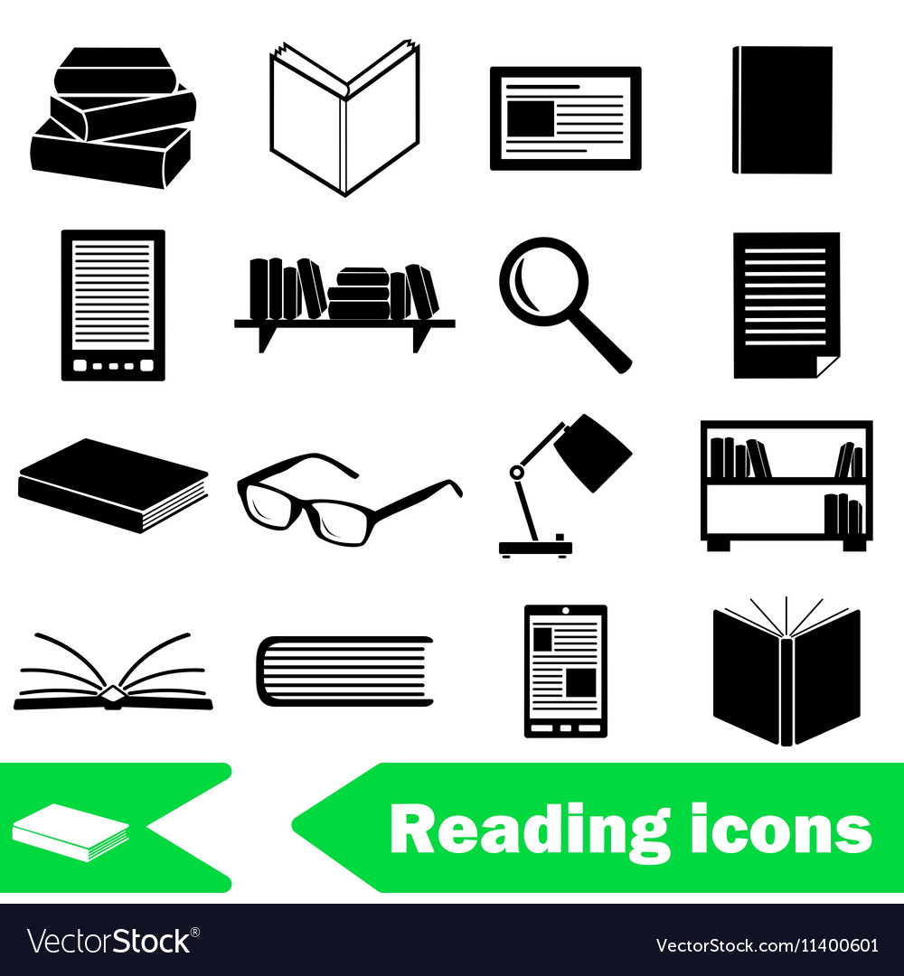 Reading books theme set of simple black icons vector image