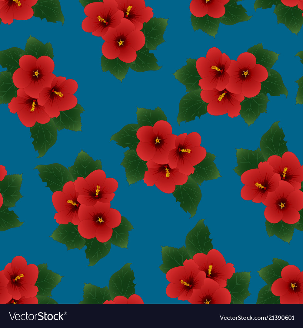 Red Hibiscus Syriacus Rose Of Sharon On Indigo Vector Image