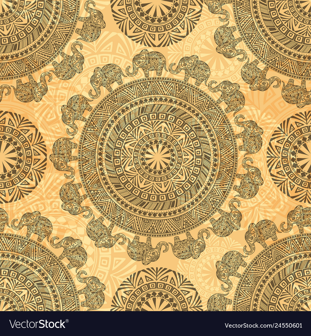 Seamless pattern with ethnic elements and