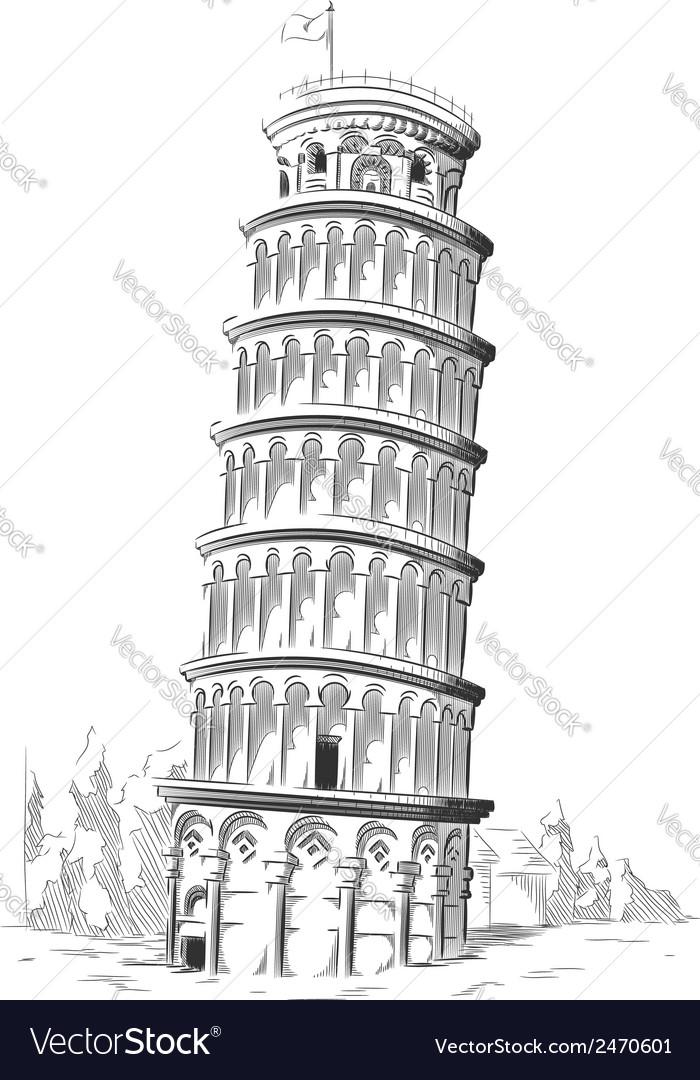 Sketch of Italy Landmark Leaning Tower of Pisa
