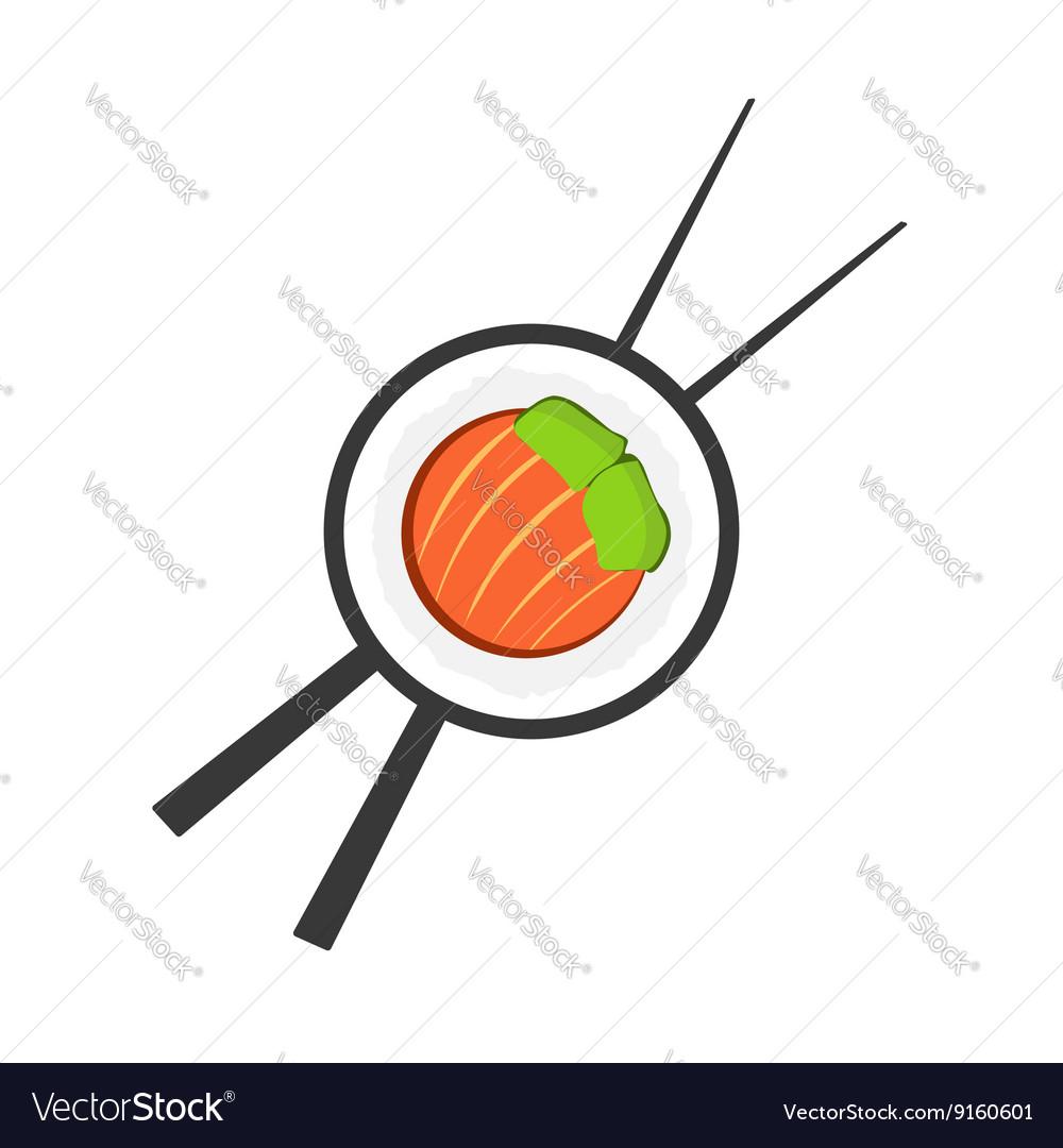 Sushi roll with chopsticks logo