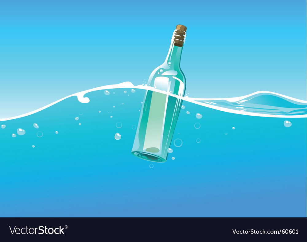 Water wave and bottle vector image