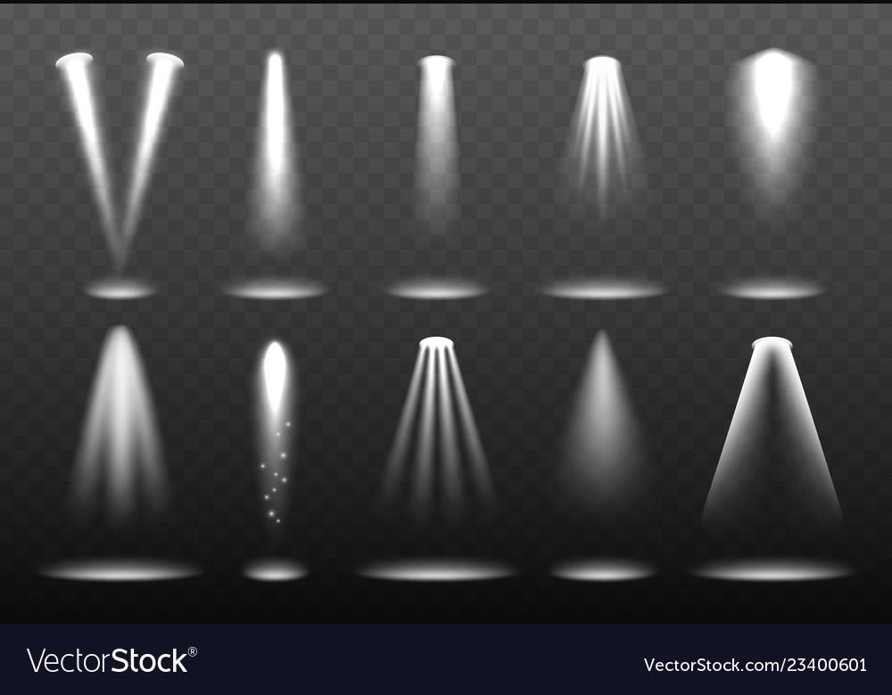 White realistic lights shining spotlight