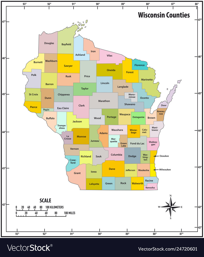 Wisconsin state outline administrative and