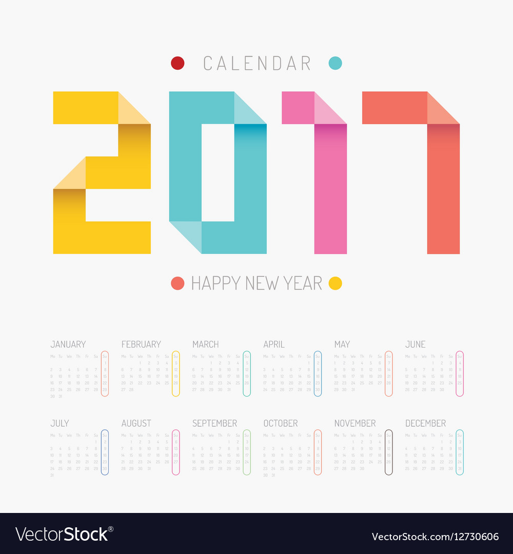 2017 Calendar colorful happy new year design