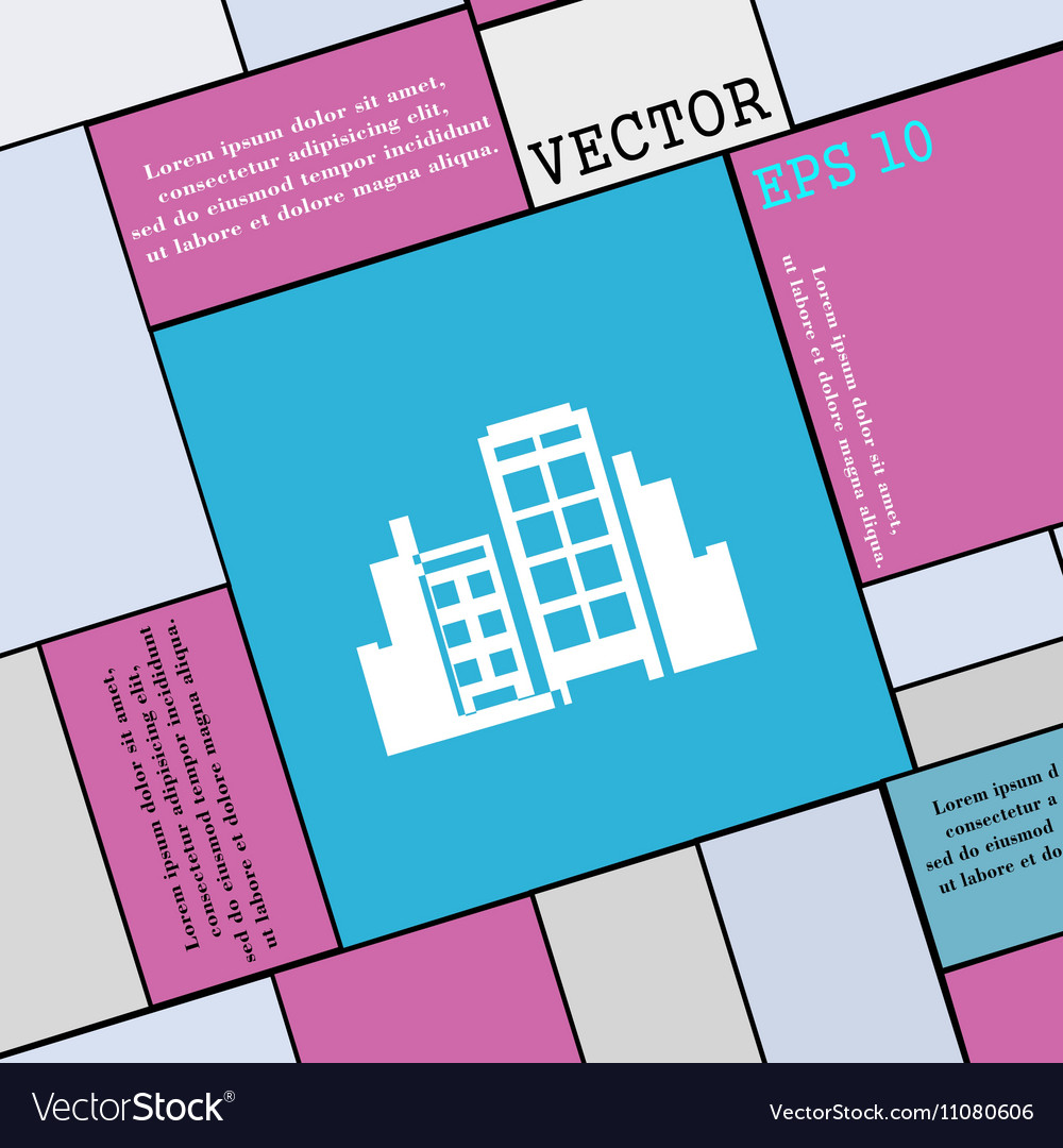 Buildings icon sign Modern flat style for your