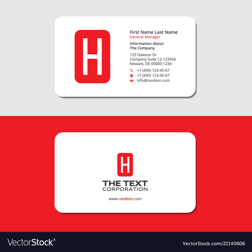 Business Cards Letter H Red Color Stationery Vector Image